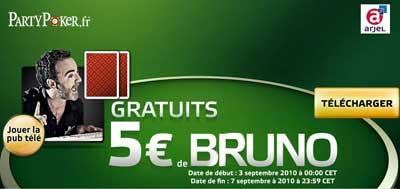 Bruno solo vous offre 5€ gratuits sur party poker